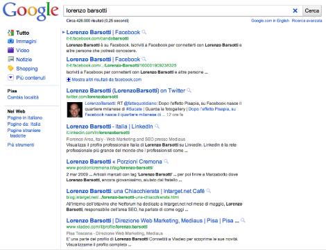 nuova serp di google