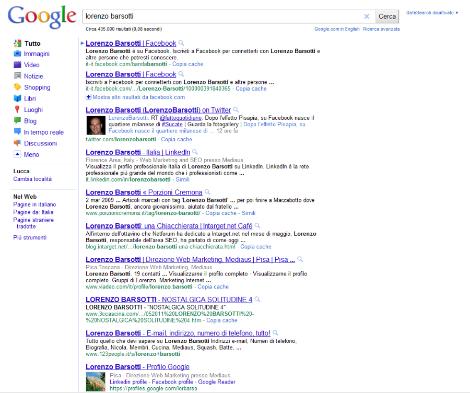 vecchia serp di google